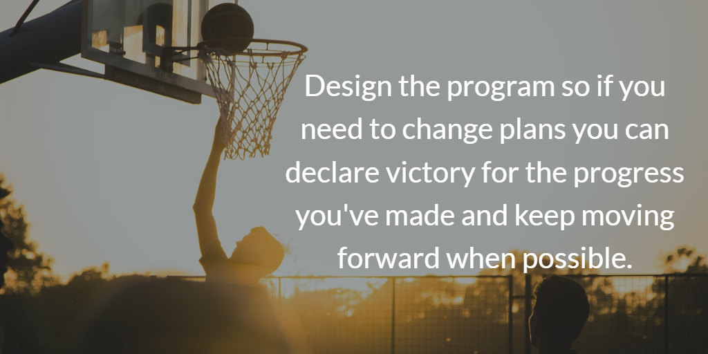 Automation strategy: design the program so if you need to change plans you can declare victory for the progress you've made and keep moving forward when possible.